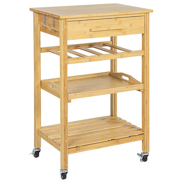 Best Choice Products Rolling Bamboo Kitchen Storage Cart