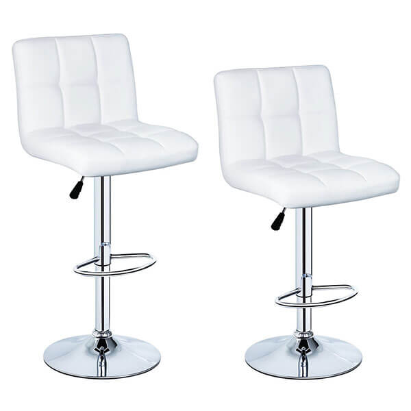 Adjustable Height White Leather Bar Stools (Set of 2)