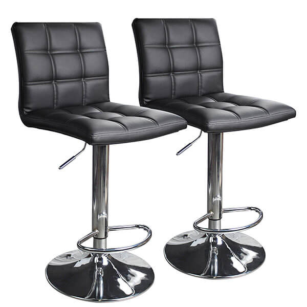 Leopard Outdoor Products Square Leather Bar Stools (Set of 2)