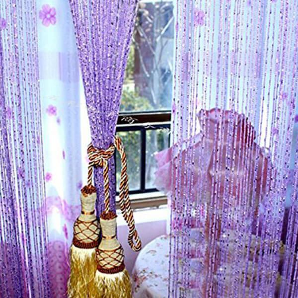 Eve Split Decorative Door Curtain, Purple