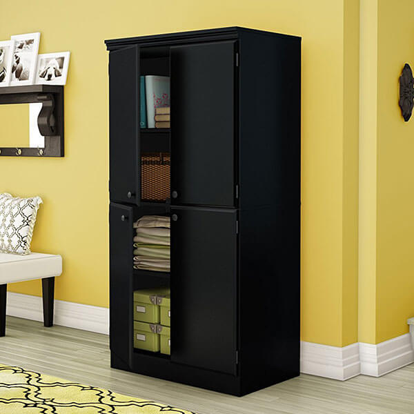South Shore Morgan Collection Storage Cabinet, Pure Black