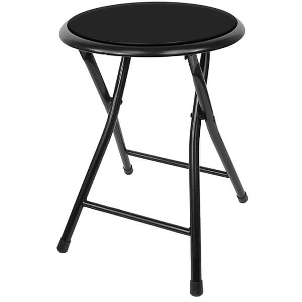 Trademark Gameroom Black Cushioned Folding Stool