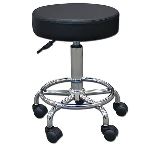 TOA Supply Round Rolling Pneumatic Stool, Black