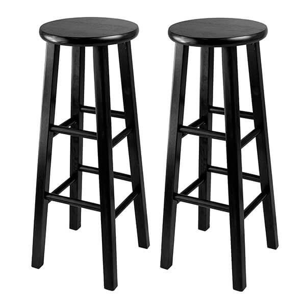 Winsome 29-Inch Square Leg Bar Stools, Black (Set of 2)