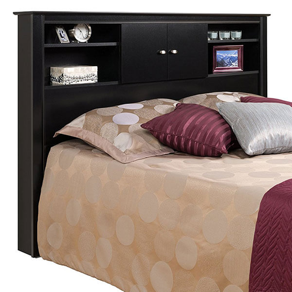 Black Kallisto Bookcase Headboard