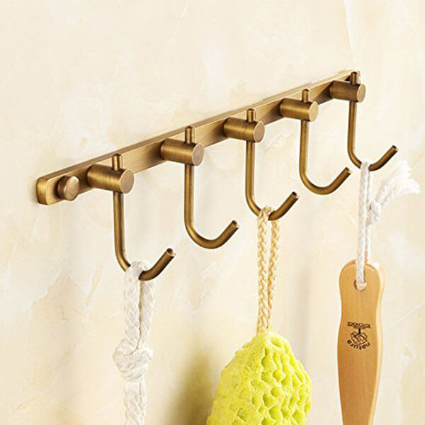 AUSWIND Antique Brass Brushed Bronze Hook Rack