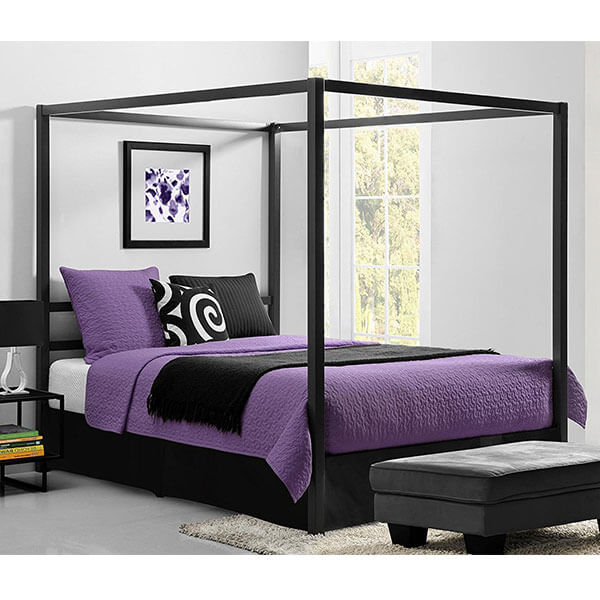 DHP Modern Metal Framed Industrial Canopy Bed Frame