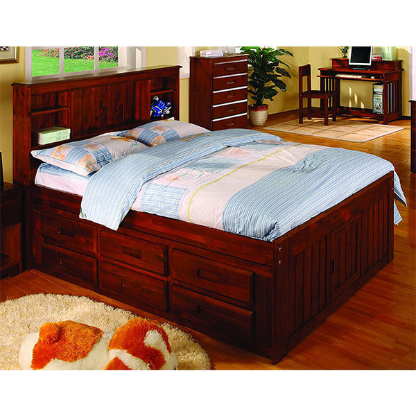 Discovery World Furniture Bookcase Captain's Bed, Merlot