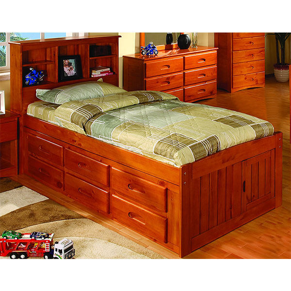 Discovery World Furniture Bookcase Captains Bed, Honey