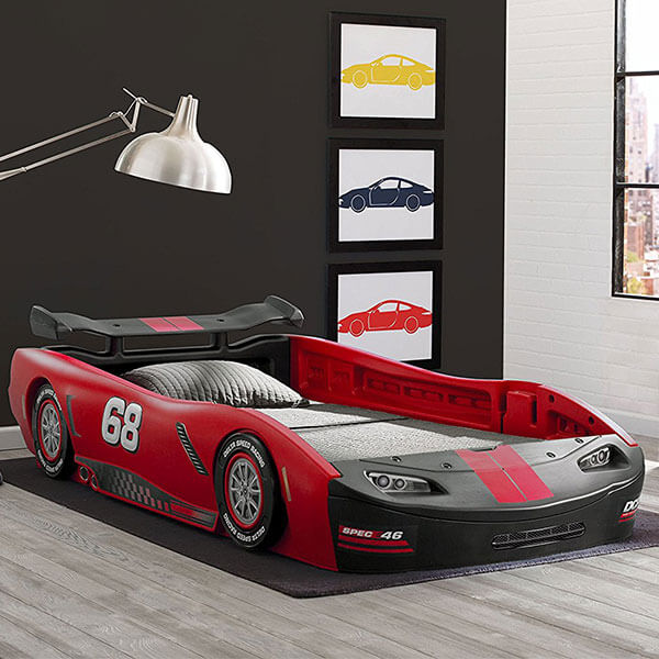 Delta Children Turbo Race Car Twin Bed, Red