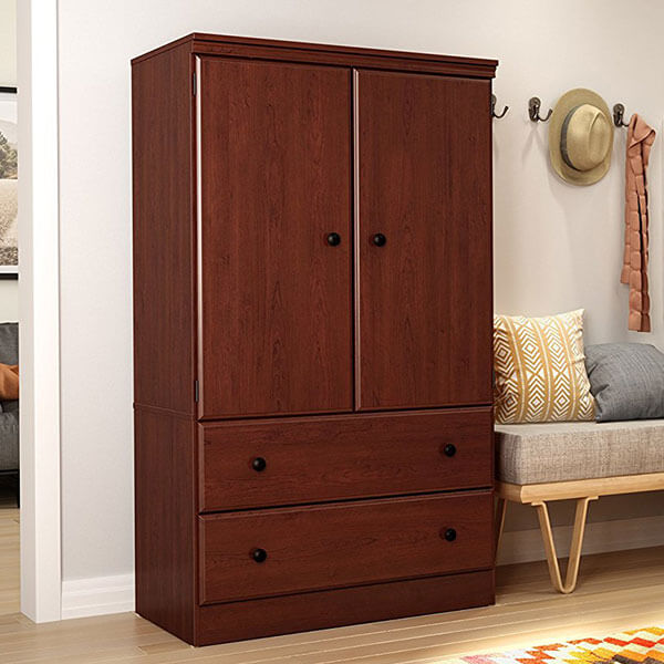 South Shore Morgan 2-Door Armoire with Drawers, Royal Cherry