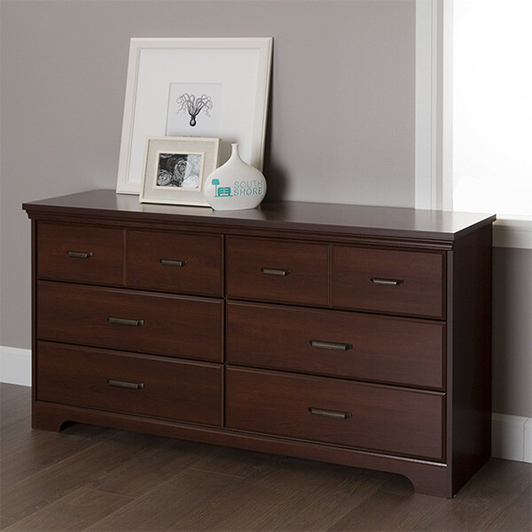 South Shore Versa 6-Drawer Double Dresser, Royal Cherry