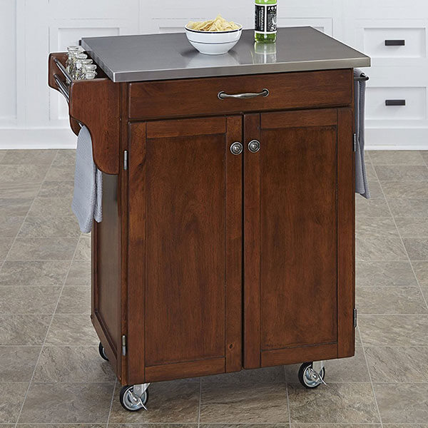 Home Styles Kitchen Cart with Stainless Steel Top, Cherry