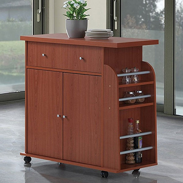 Hodedah Import Kitchen Island, Cherry