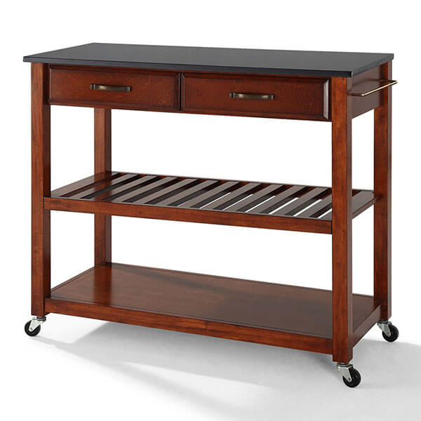 Crosley Furniture Kitchen Cart with Grey Granite Top, Classic Cherry