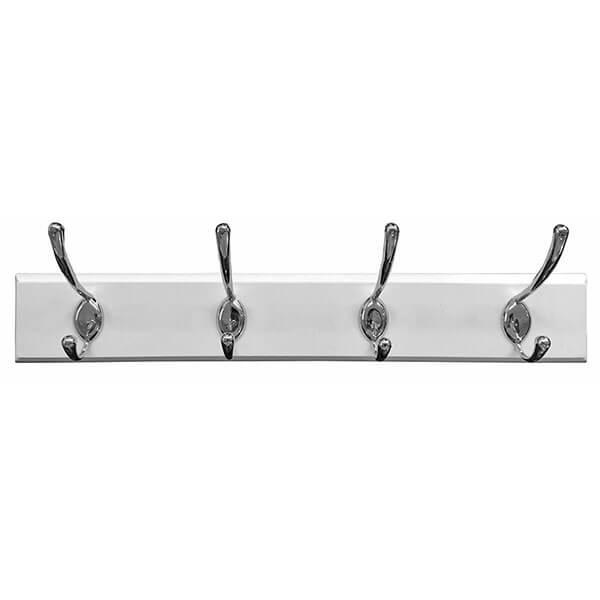 Headbourne White Coat Rack with 4 Chrome Double Hooks