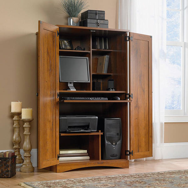 Bowery Hill Computer Armoire in Abbey Oak
