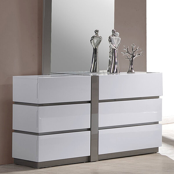 Milan Valencia Gloss White & Grey 6-Large Drawer Dresser