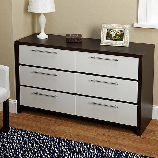 Contemporary 6 Drawer Accent Chest, Espresso/White