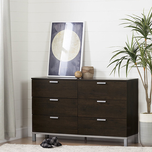 South Shore Flexible 6-Drawer Double Dresser, Brown Oak