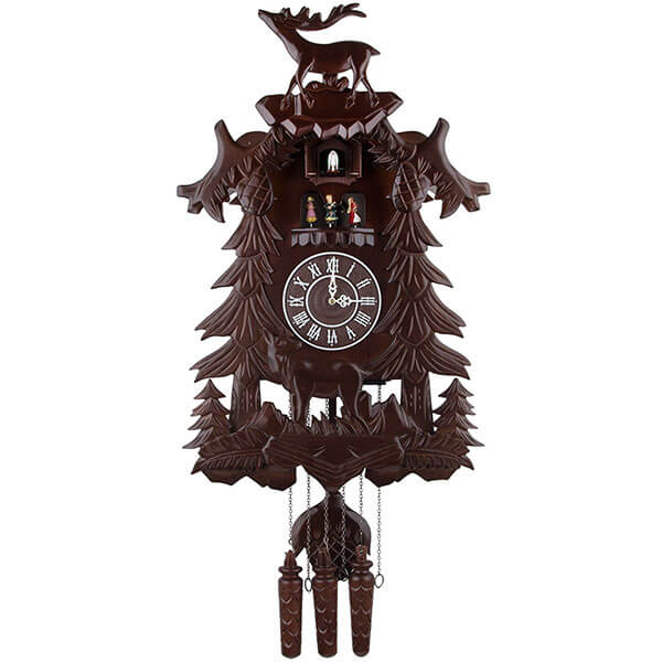 Handcrafted Wood Cuckoo Clock with 4 Dancers