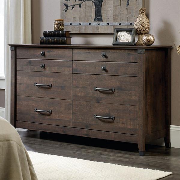Sauder Carson Forge Dresser in Coffee Oak