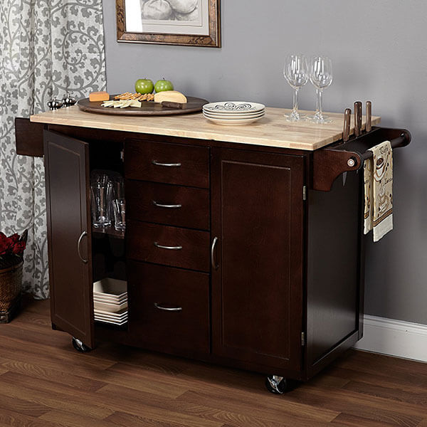 Target Marketing Systems Two-Toned Country Cottage Rolling Kitchen Cart, Espresso