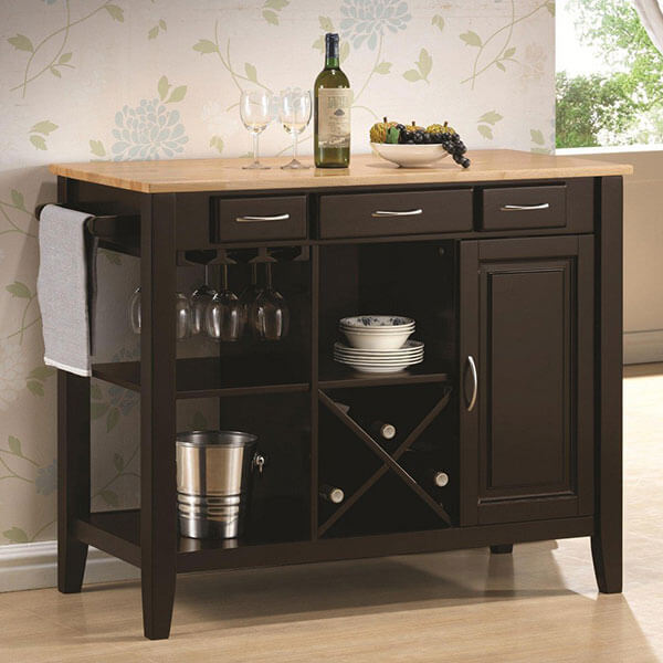 Chef's Helper Espresso Finish Kitchen Island