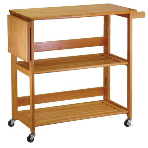 Winsome Wood Foldable Kitchen Cart with Knife Block, Light Oak