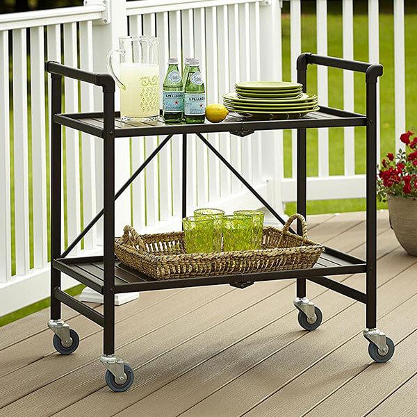 Cosco Folding Metal Serving Cart, Brown