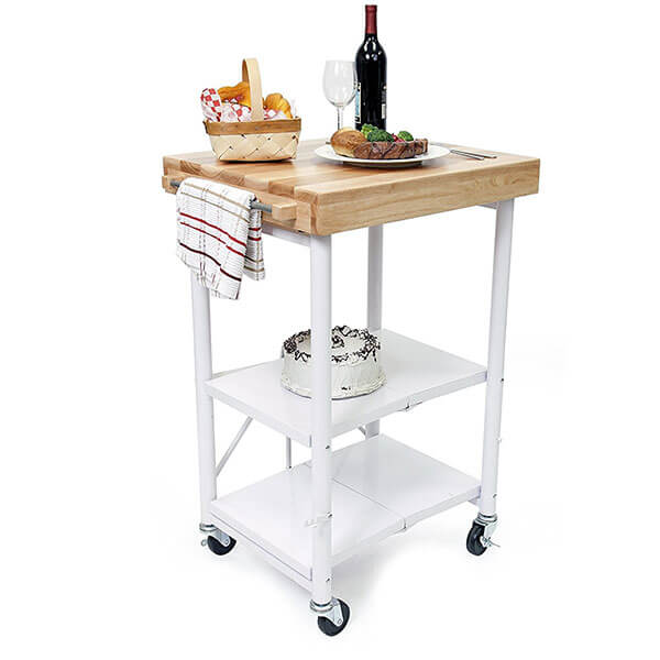 Origami Foldable Kitchen Island Cart, White