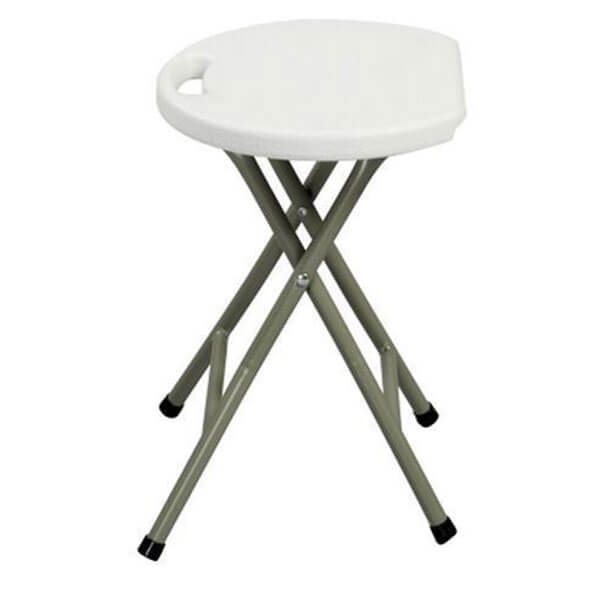 Metal and White Plastic Folding Stool