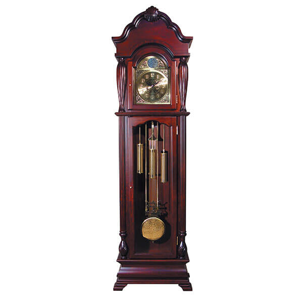 ACME Aaron Grandfather Clock, Cherry Finish