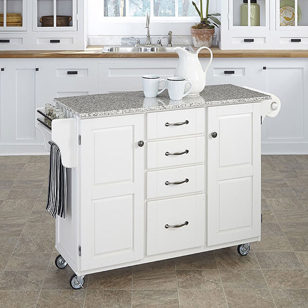 Home Styles Kitchen Cart with Salt and Pepper Granite Top, White
