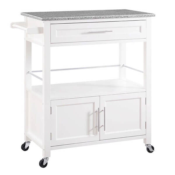 Linon Cameron Granite Top Kitchen Cart, White