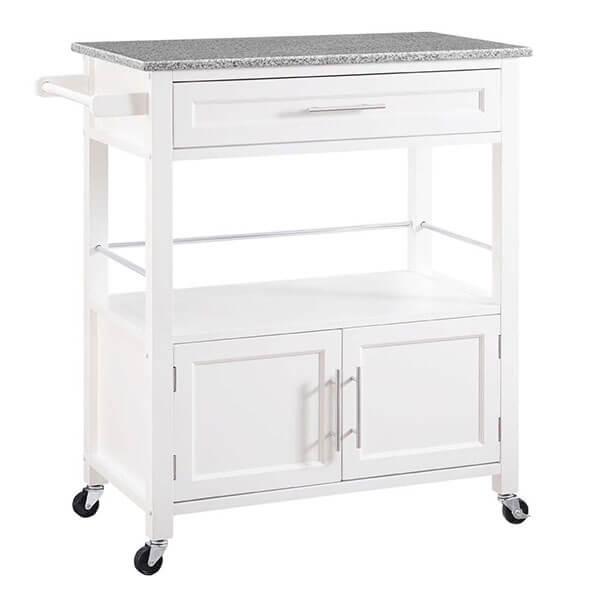 Linon Cameron Granite Top Kitchen Cart, White