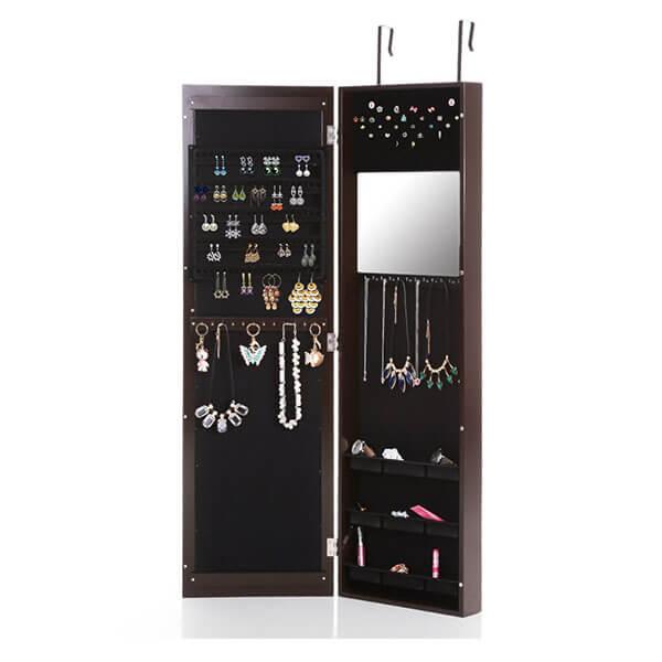 IKAYAA Mirrored Hanging Jewelry Armoire