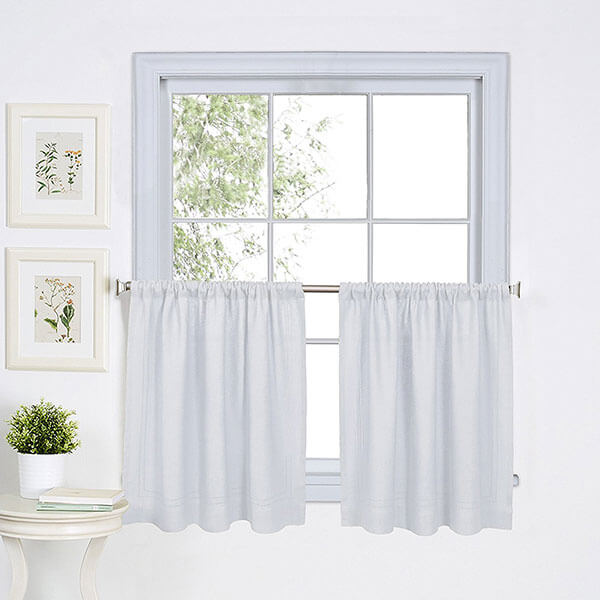 Elrene Home Fashions Hemstitched Kitchen Curtains
