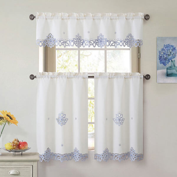 Royal Embroidery Kitchen Curtain Set