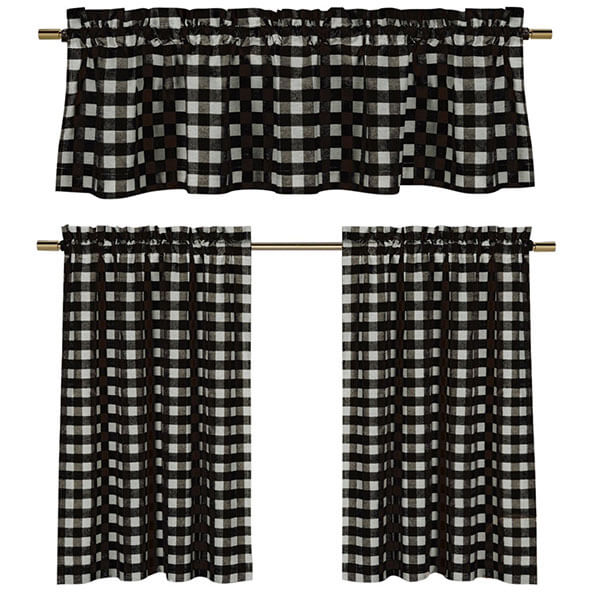 Plaid Country Chic Cotton Blend Kitchen Curtain Set