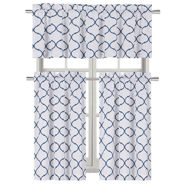 Regal Home Collections Shabby Trellis Kitchen Curtain Set
