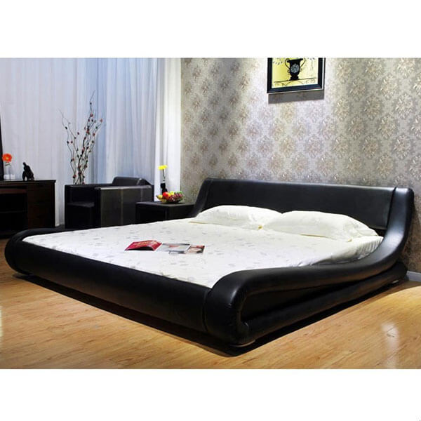 Greatime Contemporary Black Leather Bed Frame