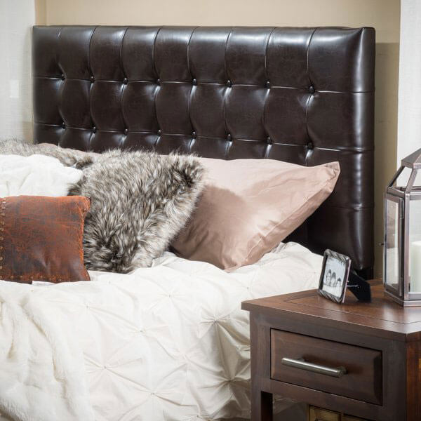 Lansing Adjustable Brown Tufted Leather Headboard