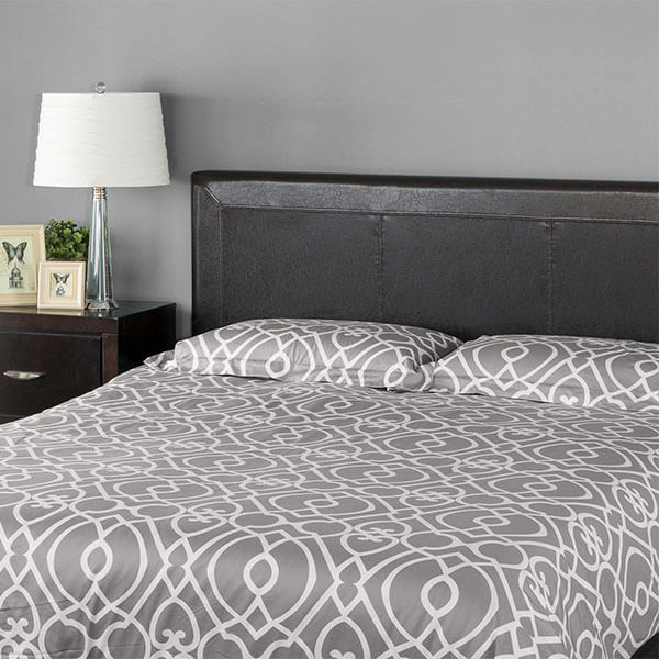 Zinus Faux Leather Upholstered Top Stitched Headboard