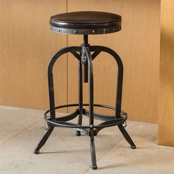 Dempsey Brown Bonded Leather Bar Stool