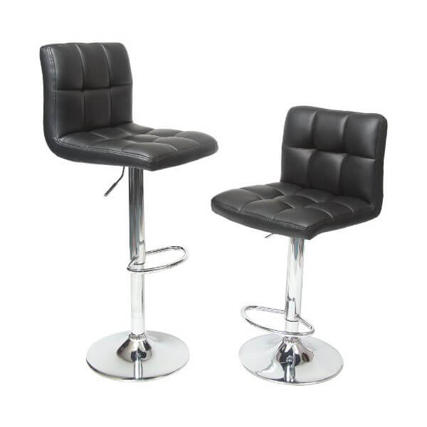 Roundhill Furniture Swivel Black Bonded Leather Stool (Set of 2)