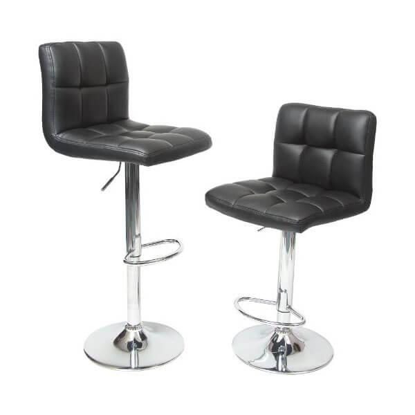 Roundhill Furniture Swivel Black Bonded Leather Stool (Set of 2)