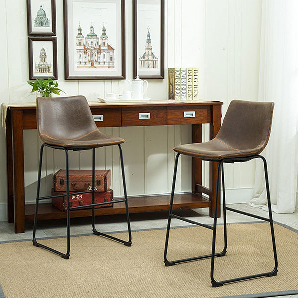 Roundhill Furniture Lotusville Vintage Leather Bar Stools