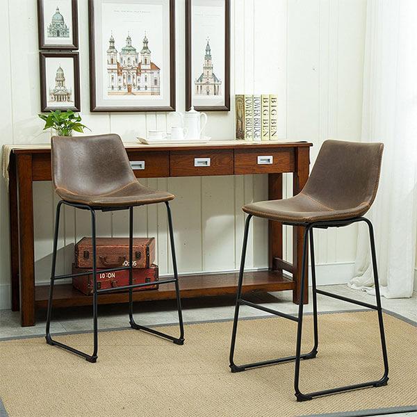 Roundhill Furniture Lotusville Vintage Leather Bar Stools
