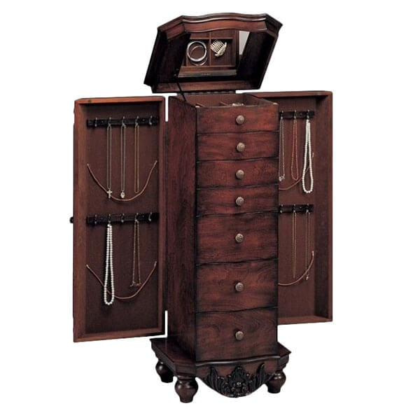 Bowery Hill Seven Drawer Antique Jewelry Armoire in Dark Cherry